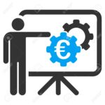 Euro Industrial Project Presentation icon. Vector style is bicolor flat iconic symbol, blue and gray colors, white background.